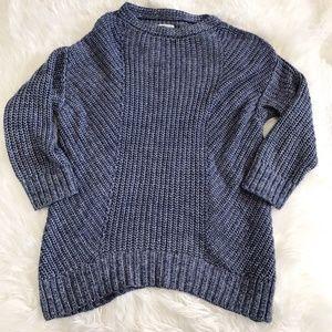 Lou & Grey blue chunky tunic length sweater. M